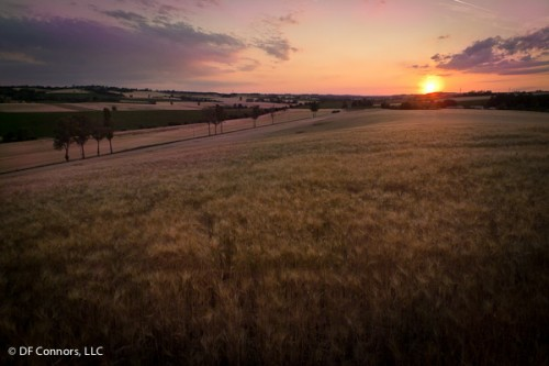 Sunset near Maureville in the Lauragais