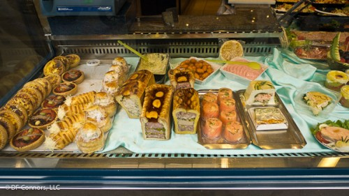 Wide selection of terrines and other delicacies from Au Sanglier in the Marais
